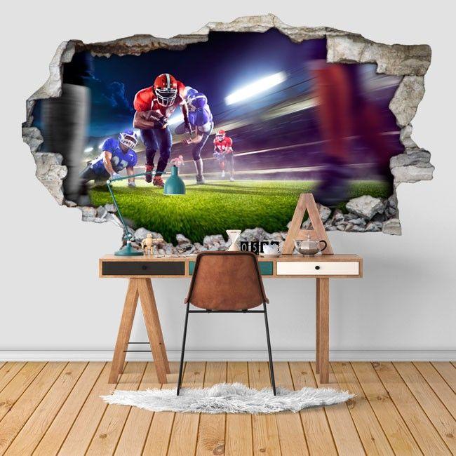 """Te gusta el Fútbol Americano ?. En Vinilos Casa ® te proponemos este impresionante """"Vinilos fútbol Americano 3d"""", con el que podrás decorar paredes, decorar dormitorios, decorar salones, decorar tiendas, decorar comercios."""