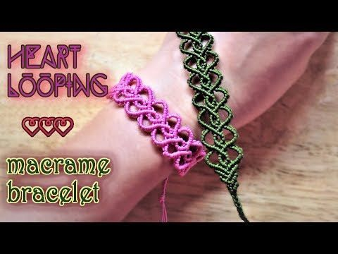 Macrame tutorial - Heart looping bracelet - Simple but full of love - YouTube