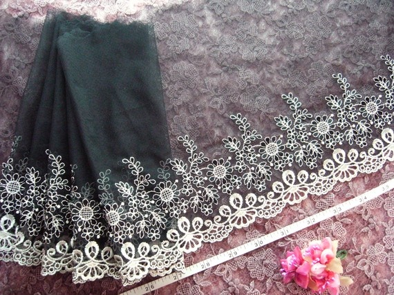 Black lace embroidered beige flowers tulle trim 2 by raincrazy133, $7.99