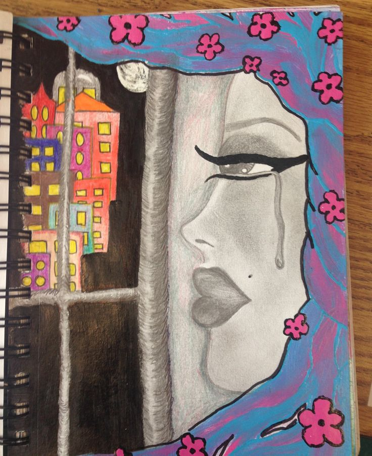 "As part of a traveling sketchbook project between the high school art rooms in Lee County Florida, this 10th grade female student in Fort Myers created a drawing based on the theme ""through the window."" In her explanation she discusses the struggles of growing up in a rough neighborhood and her longing for looking through the window and wishing she was elsewhere."