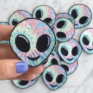 Alien Patch - Iron On Patches - Embroidered Applique - Tie Dye - Hippy - Pastel - Wildflower + Co (12)