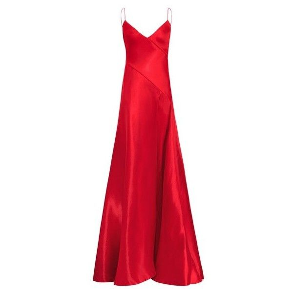 Ralph Lauren Collection Adelle Mikado Gown ($4,490) ❤ liked on Polyvore featuring dresses, gowns, gown, red, spaghetti strap dress, red wrap dress, glamorous evening dresses, red evening gowns and flare dresses