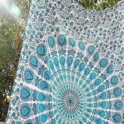 Teal Peacock Tapestry