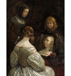 Le peintre néerlandais Gerard ter Borch (1617-1681)   Femme au miroir