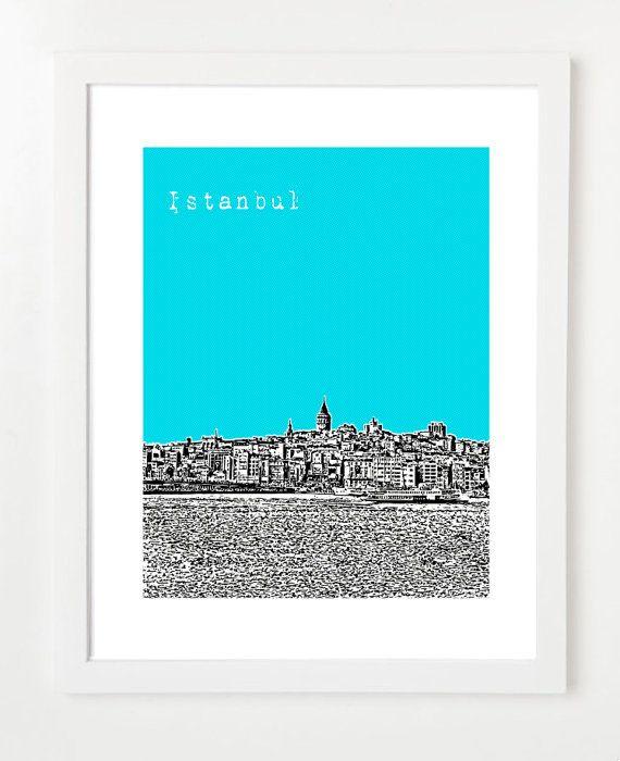 Istanbul Turkey Art Print   Istanbul City by BugsyAndSprite, $20.00