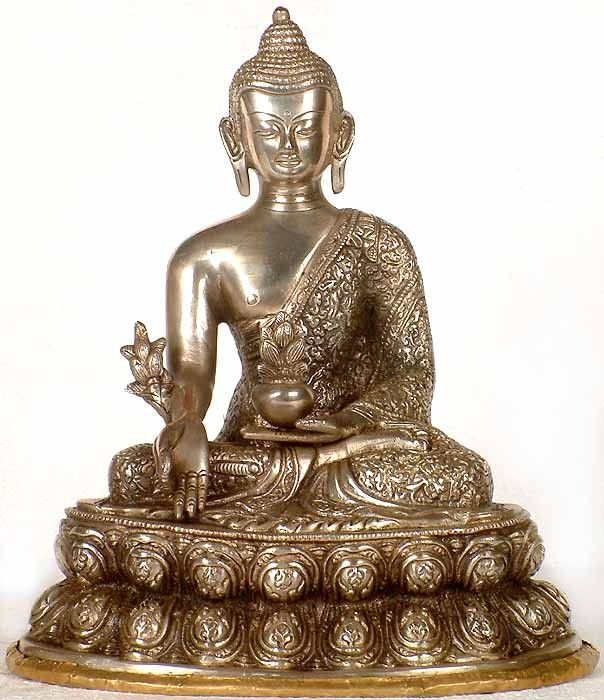 """Brass Medicine BuddhaåÊ SOLD You can still order this statue. åÊJust add to cart and check out. åÊ As a BACK-ORDER item, please allow 4 to 6 weeks for delivery. Brass Statue 11.4"""" X 10"""" X 7"""" 4.8 Kg FR"""
