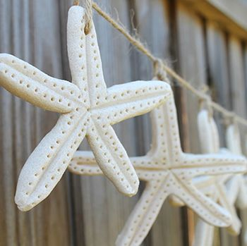DIY starfish salt dough garland - over living room window curtains! (hang from curtain rod?)
