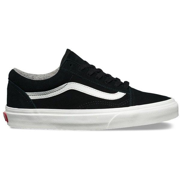 Vans Varsity Suede Old Skool ($65) ❤ liked on Polyvore featuring shoes, sneakers, black, black suede shoes, lace up shoes, vans trainers, cap toe sneakers and suede skate shoes
