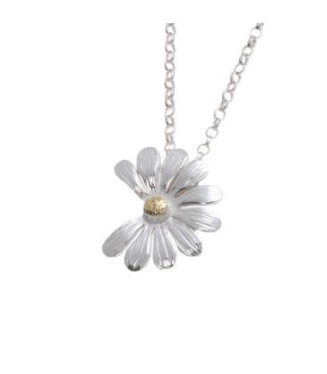 Daisy Medium Pendant-  Gold  centre. 2 bell chain