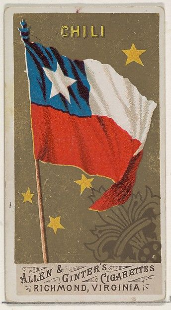 Chile, from Flags of All Nations, Series 1 (N9) for Allen & Ginter Cigarettes Brands