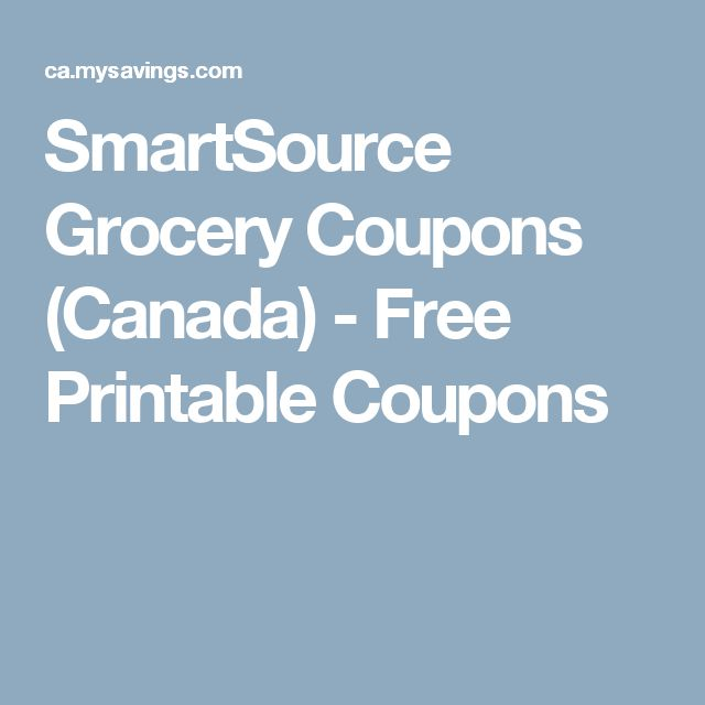 SmartSource Grocery Coupons (Canada) - Free Printable Coupons