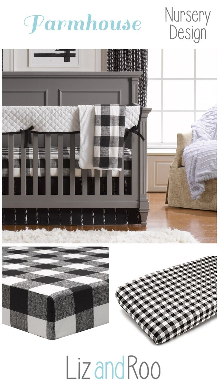 Farmhouse Nursery Design | Rustic Farmhouse Baby Bedding | Black and White Nursery