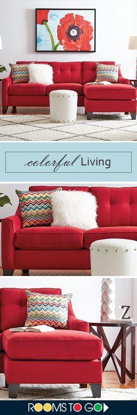 Contemporary and stylish, the Madison Place sectional will transform your living room. Covered in spicy cardinal colored Microfiber Plush, the sectional features track arms and loose tufted pillowbacks. Elongated cushion and moveable base create a floating chaise, which can be used on either the right or the left. Shop this living room and more now!