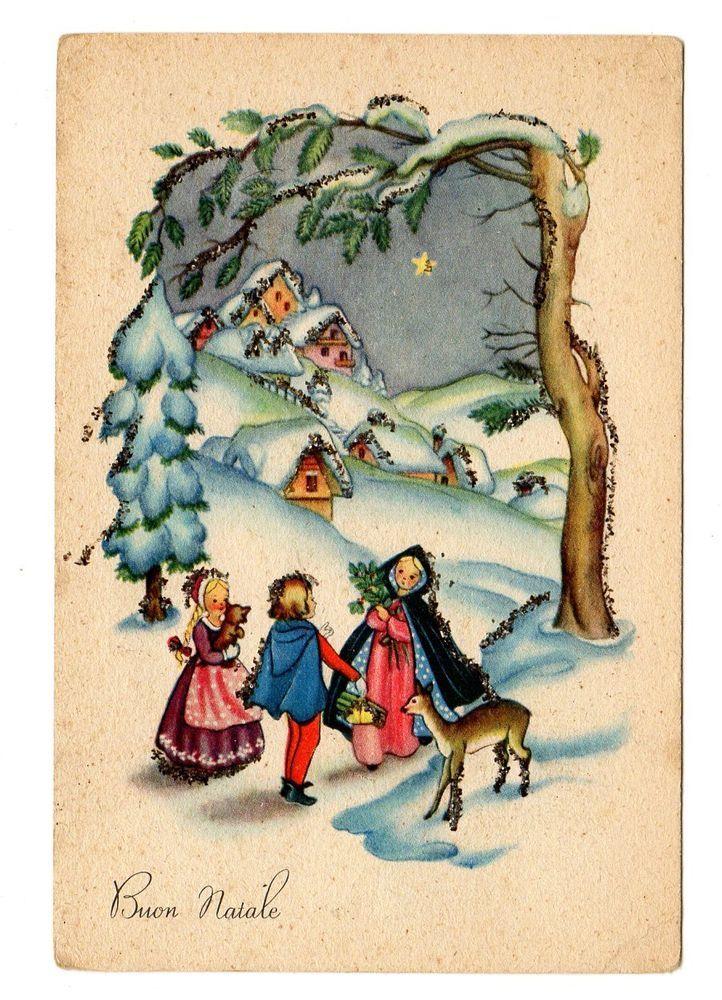 Buon Natale Particolare.Antica Cartolina Buon Natale Bambini Particolari Con Brillantini