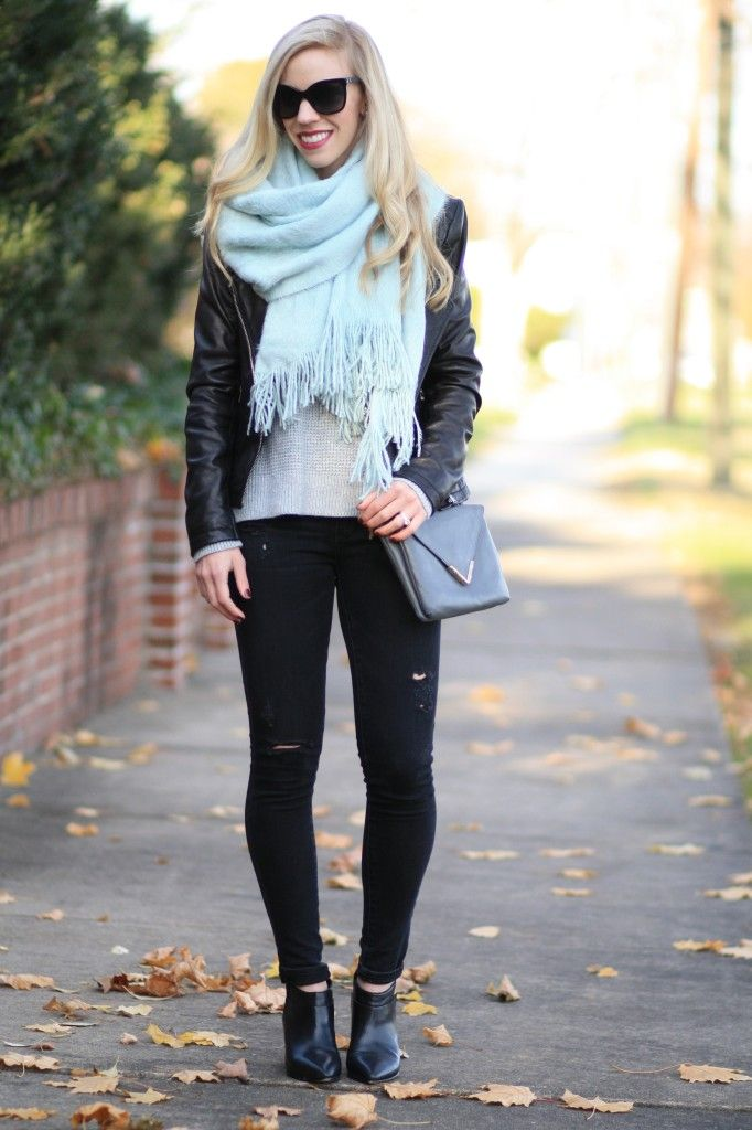 Hint of Mint: Leather moto jacket, oversized scarf, mint scarf, black distressed denim, pointy-toe ankle boots, black leather ankle boots, Elaine Turner gray leather 'Bailey' crossbody bag, mint and gray, winter fashion