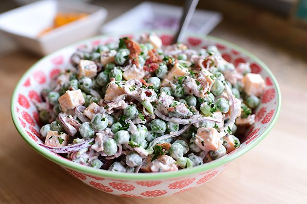 PW's Pea Salad, which goes on the table for Easter. Frozen peas, red onion, cheddar and bacon make this classic cold salad.