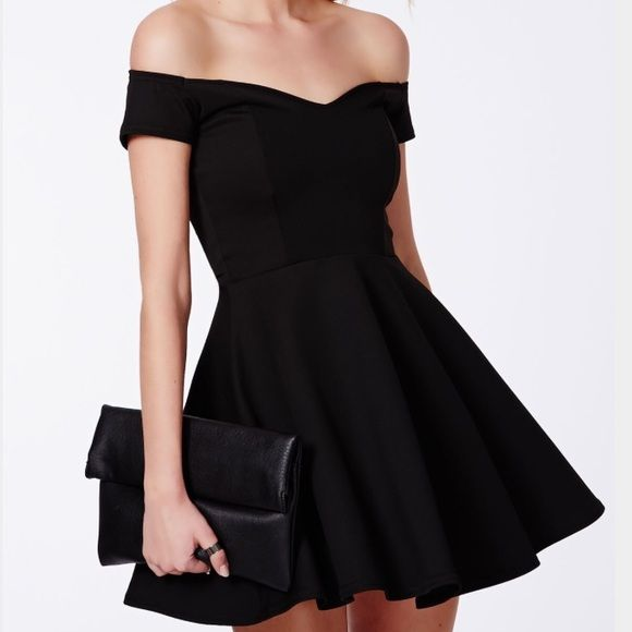 Missguided Black Sweetheart Neckline Skater Dress Black skater dress from Missguided. Never worn! UK size 8, US size 6 Missguided Dresses Mini