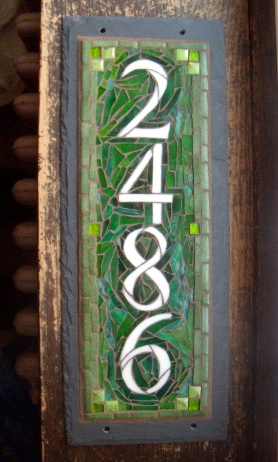 Hey, I found this really awesome Etsy listing at https://www.etsy.com/listing/162596533/vertical-mosaic-house-number-on-slate-4