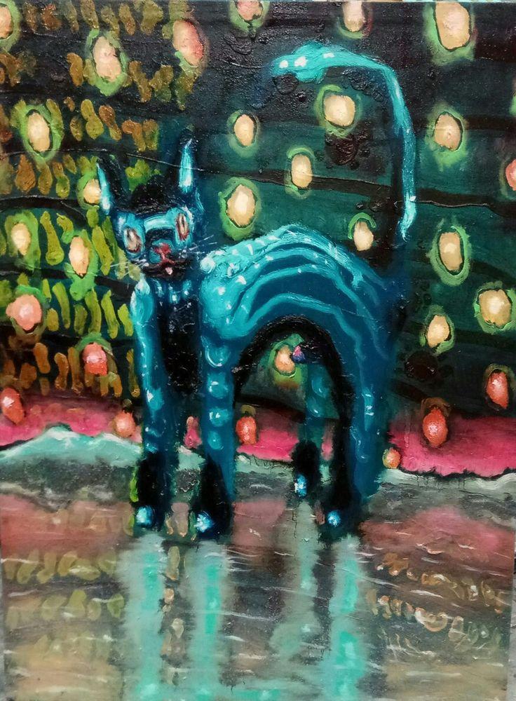 Gatto robot con pisello, olio su tela, 40x50 cm, 2017, Nicola Facchini