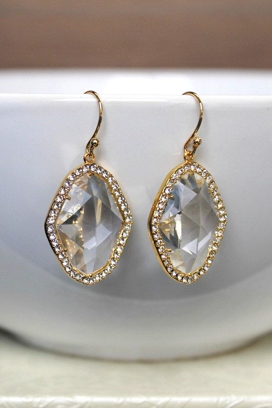 Crystal glass earrings wedding earrings bridal earrings gold earrings wedding jewelry bridal jewelry bridesmaids earrings bridesmaids gift by BatelBoutiqueBridal