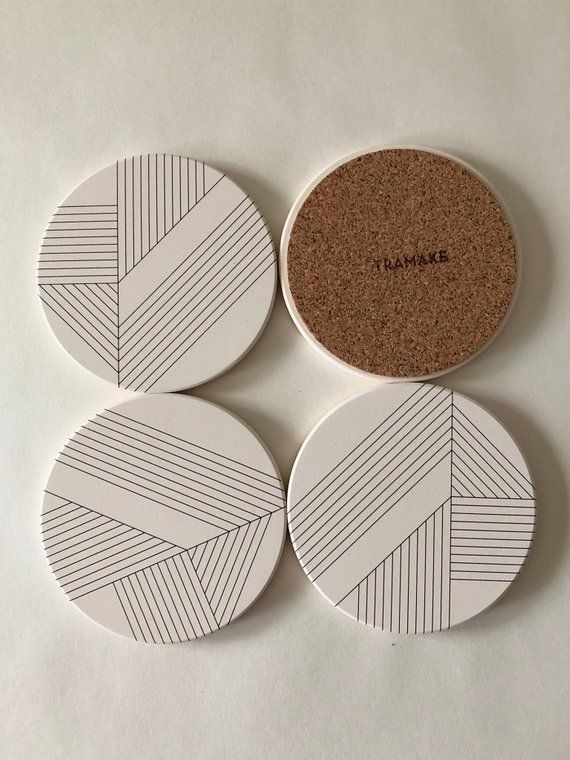 Art Deco Water Proof And Heat Proof Coasters Set Of 4 Coasters Geometric Modern Design Coaster Set Ceramic Coasters Modern Coasters Stone Coasters