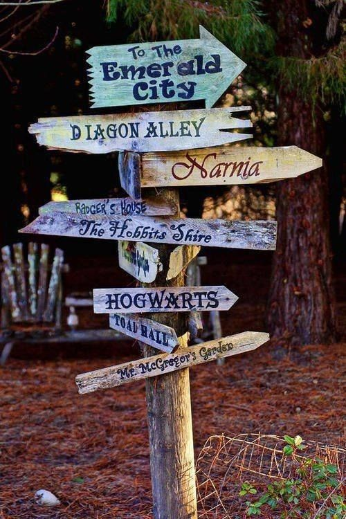 Fantasy Sign Post = great idea for the kids room or maybe the yard
