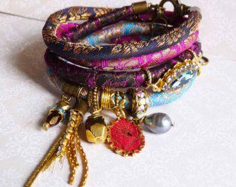 Red wine brocade wrap bracelet