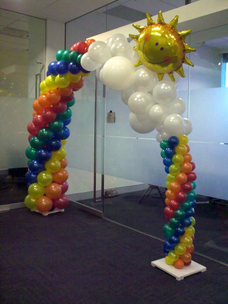 Sunny rainbow arch k miss m 4th bday ideas pinterest for How to make a rainbow arch