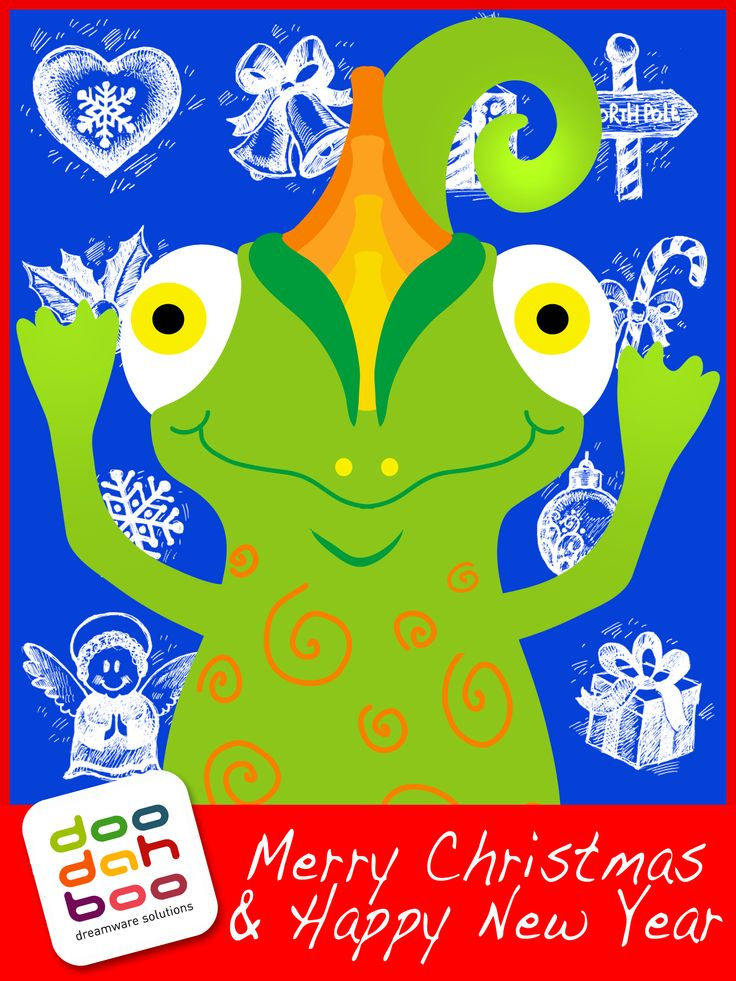 Chameleon Christmas Greetings Card
