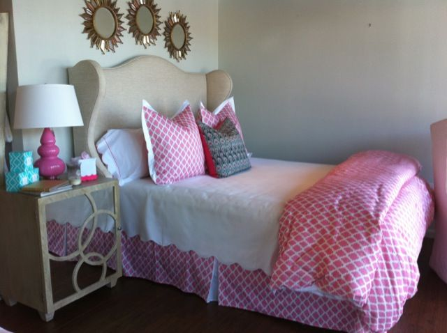 love the headboard and printed bed skirt