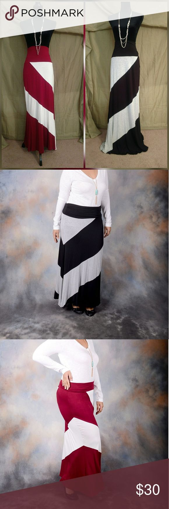 Plus size Chevron Maxi Skirt Side Chevron Maxi Skirt  The skirt length is right below the ankle  Loose Fit  Chevron color: Black/Red  Skirt Color: Grey/Ivory  Fabric: 95%Rayon5%Span  ***Before placing an offer, pls comment on listing your preferred color**** Skirts Maxi