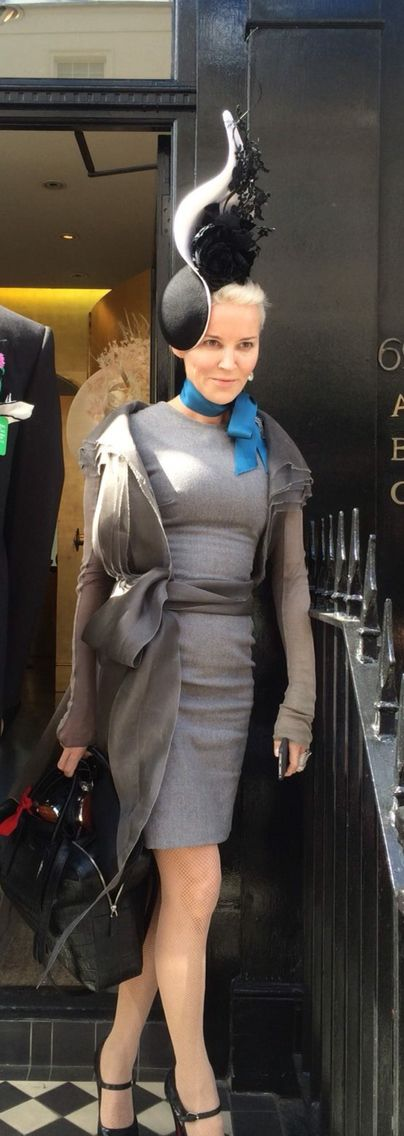 Daphne Guinness wearing a Philip Treacy headpiece to the Epsom Derby - June 6th 2015.