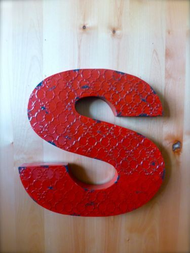 INDUSTRIAL-RED-METAL-WALL-LETTER-S-20-TALL-rustic-vintage-decor-novelty-sign