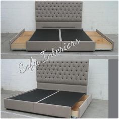 """""""Tufted headboard with custom made bed frame with pullout drawers. #custom…"""
