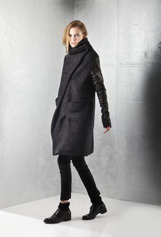 _MALLONI black wool asymmetrical draped coat  #minimalist #fashion #style