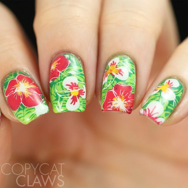 Copycat Claws Blue Color Block Nail Art: Best 25+ Tropical Flower Nails Ideas On Pinterest