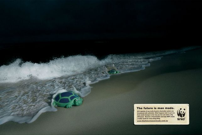 """""""The future is man made."""" by Leo Burnett Sydney for WWF. #turtle #ocean #endangered #species"""
