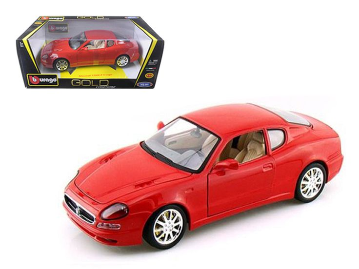 Maserati 3200 GT Coupe Red 1/18 Diecast Model Car by Bburago - Brand new 1:18 scale diecast Maserati 3200 GT Coupe by Bburago. Has steerable wheels. Brand new box. Rubber tires. Has opening hood, doors and trunk. Made of diecast with some plastic parts. Detailed interior, exterior, engine compartment. Dimensions approximately L-10, W-4, H-3.5 inches. Please note that manufacturer may change packing box at anytime. Product will stay exactly the same.-Weight: 4. Height: 8. Width: 15. Box…