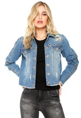 Jaqueta Jeans Colcci Ilhoses Azul  2222c48e58b