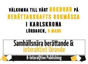 Berättarkrafts bokmässa den 3 mars, mycket välkomna till vårt bokbord!