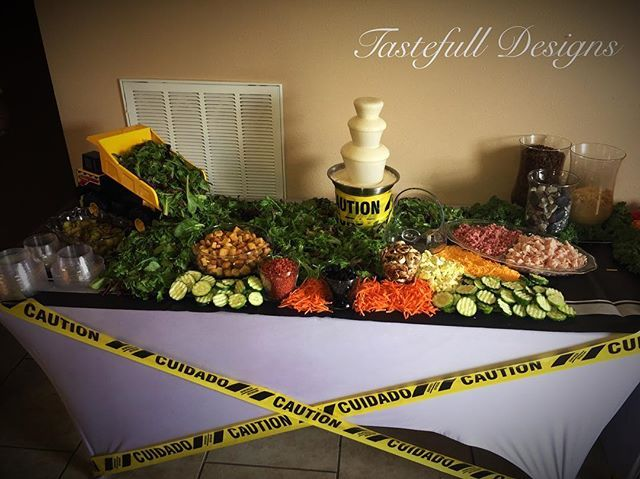 """""""🚧Construction Theme 🚧Salad Display 🥒🥕🥗👷♀️Want to make a big impression? Let  our 👀catching displays be your stunning solution.  #tastefulldesigns #fruitGoddess #FruitFetish #foodporn #iLoveWhatIDo #ApperanceIsEverything #qualityiseverything #healthy #Fruits #Veggies #Candy #nolaevents #parties #Events #Arrangements #celebrations #Weddings  #instagood #foodgasm #T4L #blessed  #photooftheday #FruitTables #EdibleArt #catering #saladdisplay #Shancutsup Yes I #travel 🌎✈🚗…"""