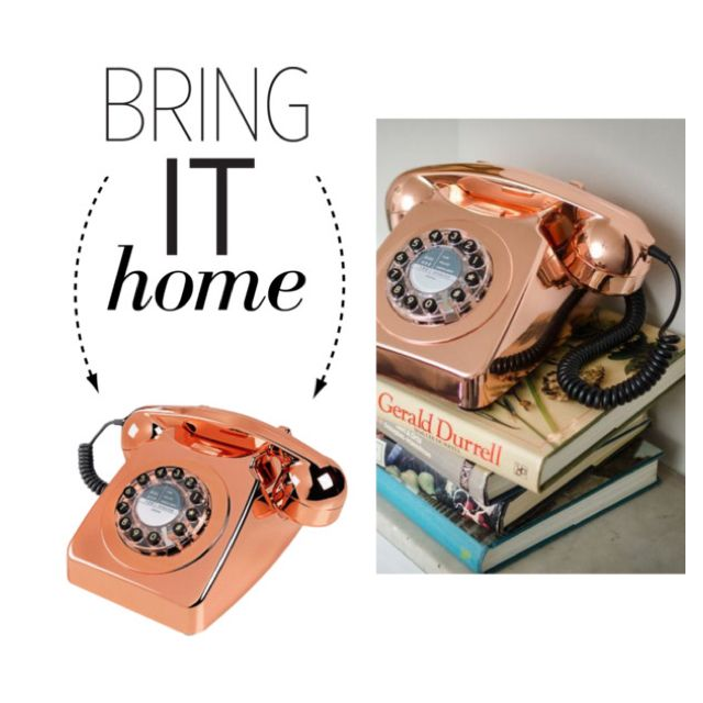 Bring It Home: England at Home Series 746 Copper Telephone by polyvore-editorial