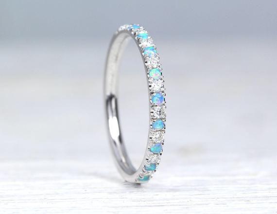 Opal And Diamond Eternity Band Opal Ring Eternity 2 Mm Etsy In 2020 Opal Wedding Rings Eternity Band Diamond Opal Band