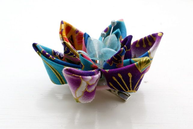 Japanese Fabric Flower Hair Clip in Purple, Blue and Gold £18.00