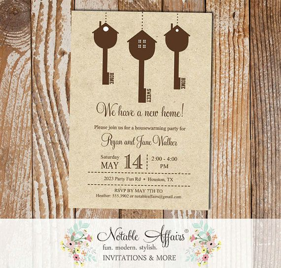 Rustic Vintage hanging Keys Home Sweet Home Housewarming Party on kraft background New Home Open House Party invitation By Notable Affairs