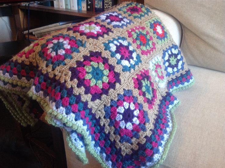 Crochet granny square throw