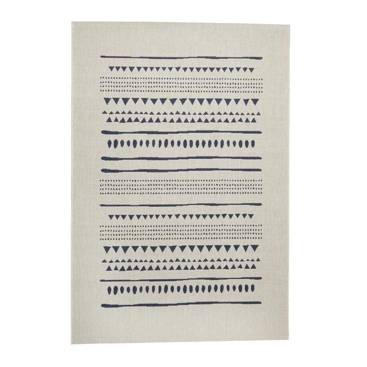 Vloerkleed (230x160 cm), Creme/donkerblauw
