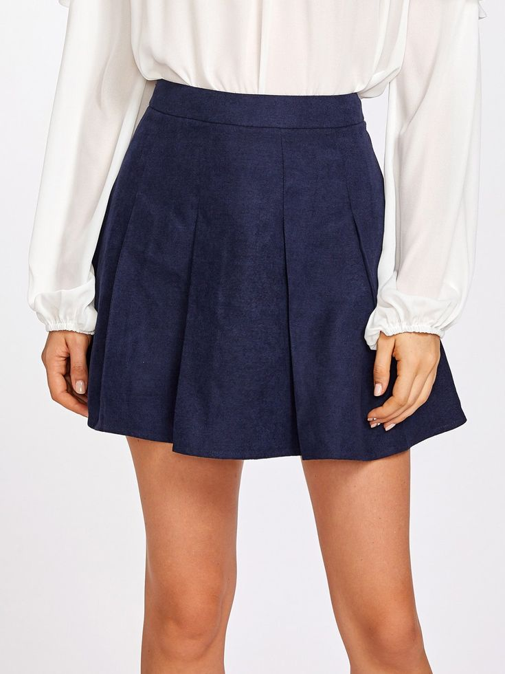 Shift Above Knee/Short Skirts Decorated with Pleated. High Waist. Plain design. Trend of Spring-2018, Fall-2018. Designed in Navy. Fabric has no stretch.