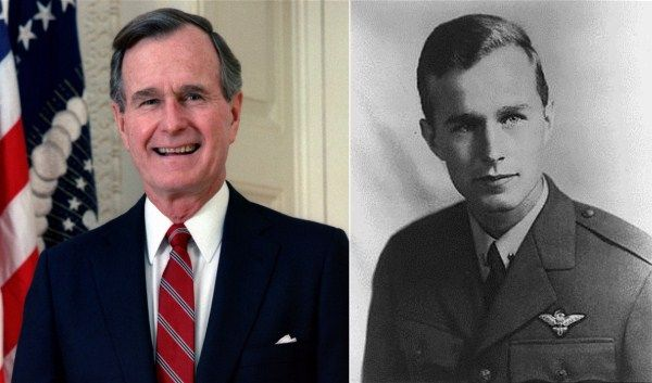 George Bush Sr-Navy-WW2-Lieutenant -pilot flying 58 combat missions in the Pacific. He was injured bailing out of burning aircraft during a mission and rescued by a submarine.