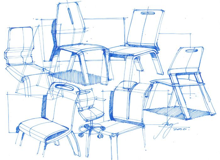 Architectural Sketches of Chairs